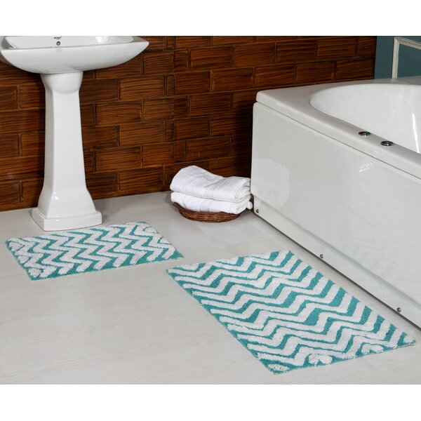 Alric 100% Cotton 2 Piece Bath Rug Set by Ebern Designs